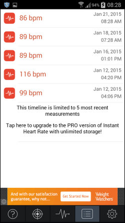 Instant Heart Rate app for Android
