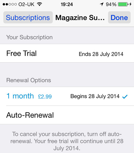 Newsstand subscription on the iPhone
