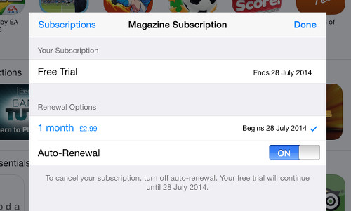Newsstand subscriptions on the iPad