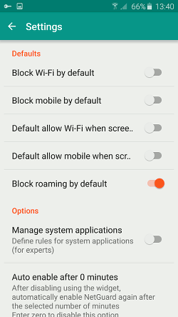 NetGuard Android firewall