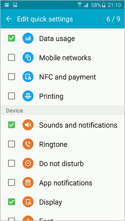 Samsung Galaxy settings