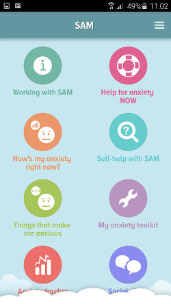 SAM stress and anxiety app for Android