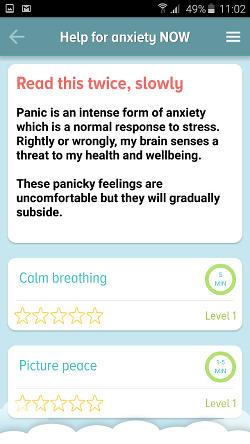 SAM Android app for stress and anxiety