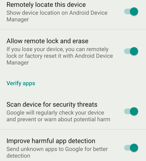 Google Settings for Android