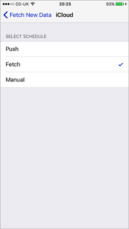 Choose between Push and Fetch for data on the iPhone. Save data by setting a long fetch period.