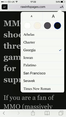 Safari Reader view on iPhone
