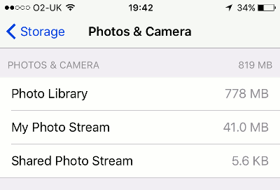 See the storage space used by My Photo Stream in Photos and Camera on the iPhone