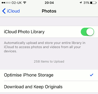 Save space on the iPhone by optimising photo storage with iCloud Photo Library