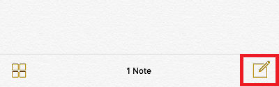 Create a new note in the Notes app on the iPhone and iPad