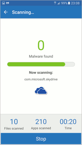 Scanning the phone with Malwarebytes Anti-Malware for Android