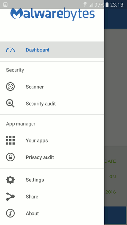 The side panel menu in Malwarebytes Anti-Malware for Android