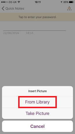 Create a new note in OneNote on the iPhone and insert photos