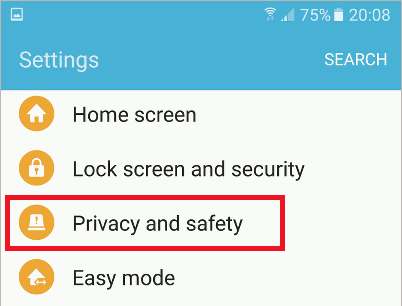 Settings on the Samsung Galaxy S6