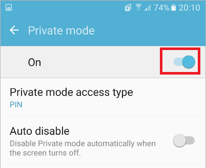 Turn on Private mode on the Samsung Galaxy phone