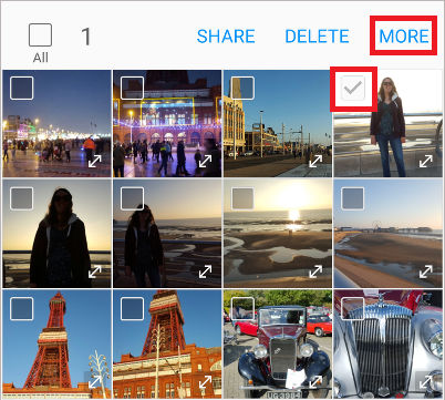 Select photos in the Gallery app on Samsung phones