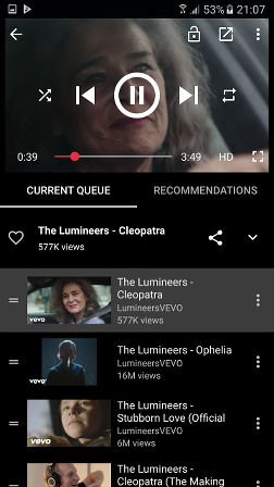 Stream music app for Android