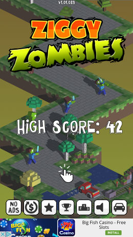 Ziggy Zombies app for Android, a never ending road racer arcade game