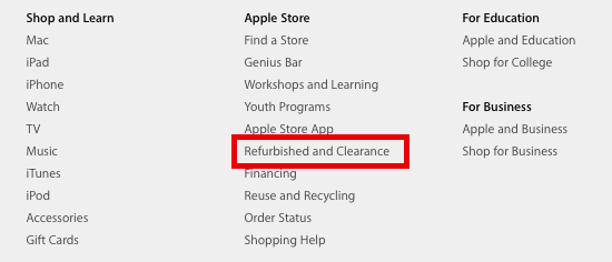 Access the Apple Refurbished Store from the Apple home page