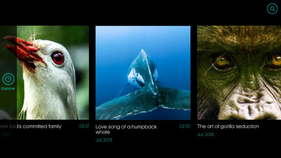 Attenborough Story of Life app for the iPhone - browsing the clps