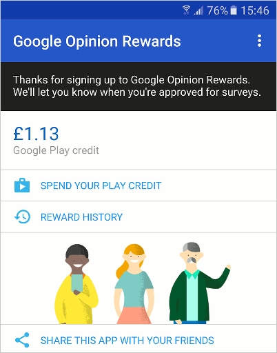 Get paid to answer questions with the Google Opinion Rewards app for Android