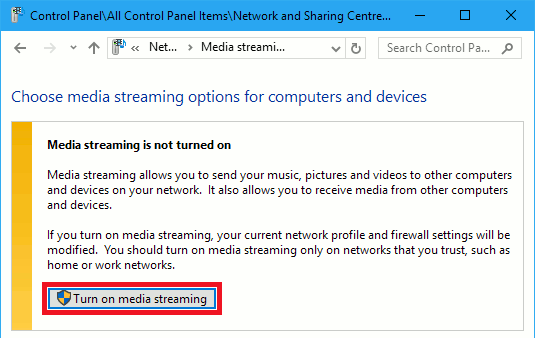 Turn on media streaming in Windows