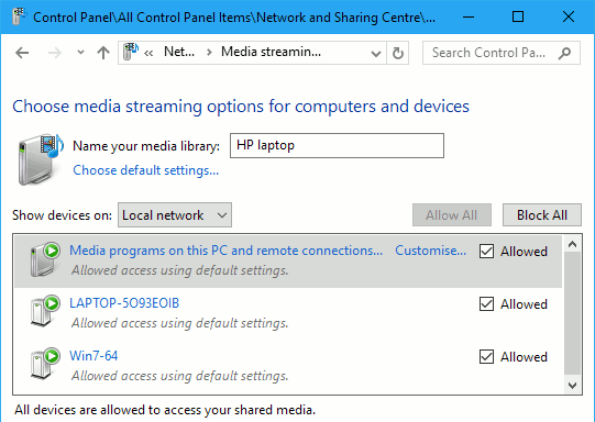 How do I stream media from my computer to my phone or tablet?