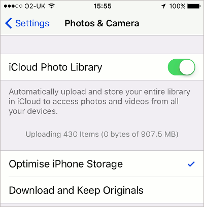 Store your photos in iCloud Photo Library on the iPhone and iPad