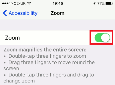 Zoom in iPhone accessibility settings