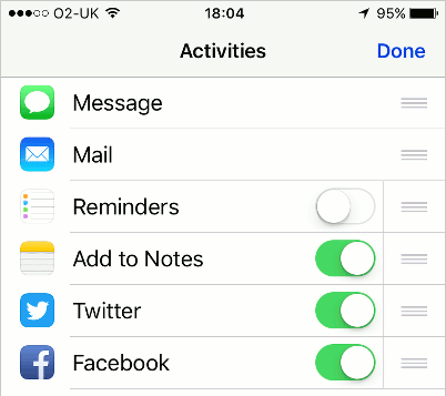 Choose which icons you want to see when the Share button is pressed in iOS