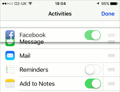 Drag the iOS sharing activities up and down to change the order in which they appear