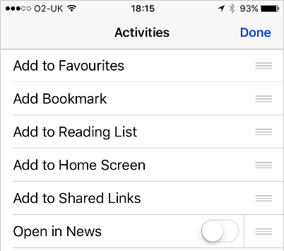 Rearrange the sharing activities in iOS on the iPhone