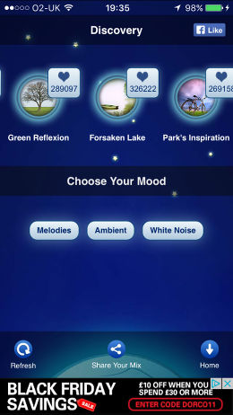 Relax Melodies app for the iPhone helps you to relax, sleep or meditate