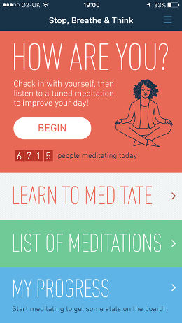 Stop, Breathe & think for iPhone meditation, relaxation and mindfulness