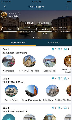 TripHobo travel app for the iPhone