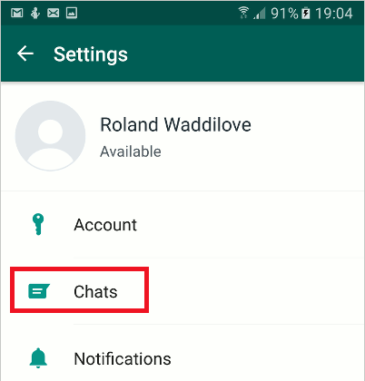 WhatsApp settings on Android phones