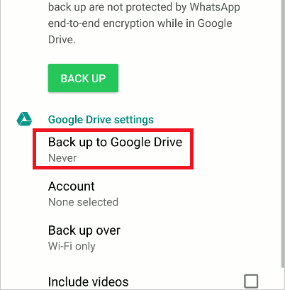 WhatsApp backup settings on Android phones