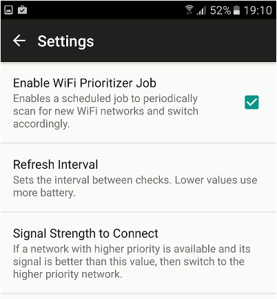 WiFi Prioritizer for Android settings