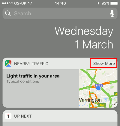 Check the traffic status on the iPhone lock screen