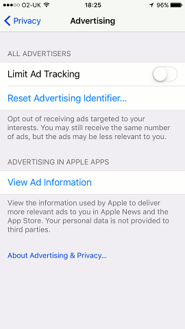 Ad tracking settings on the iPhone in iOS 10.3
