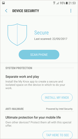 Intel Security on Samsung phone