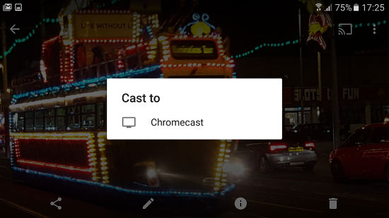 Send output from an Android phone to a Chromecast connected to a TV