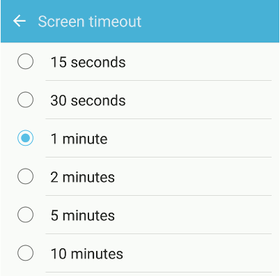 Set the screen timeout on Android