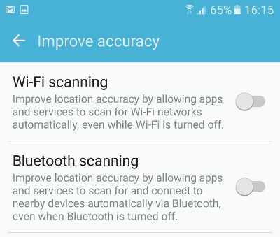 Disable Wi-Fi and Bluetooth Scanning in Android to reduce battery drain