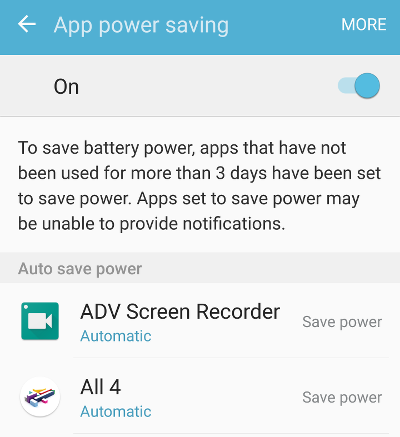Enable App power saving on Samsung phones
