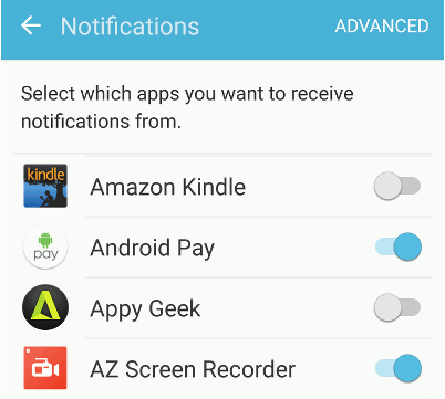 Disable notifications for unimportant apps in Android