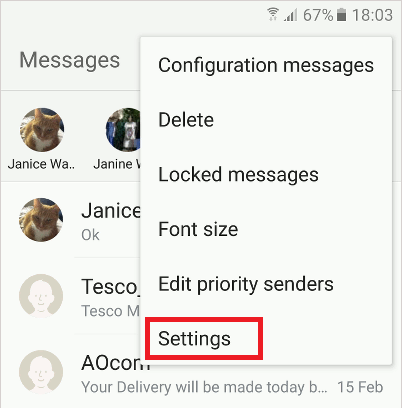 The Messages app on the Samsung Galaxy S6