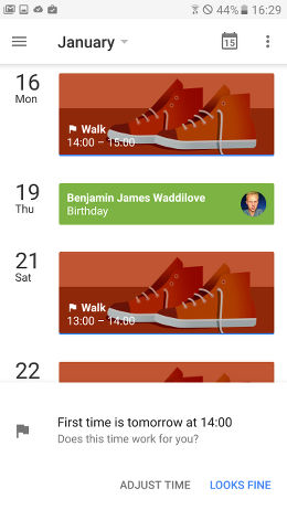 Create goals in Google Calendar on Android and they are automatically scheduled