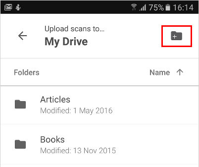 Select the folder on Google drive to saved scans