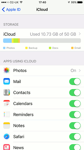 View your iCloud space usage on the iPhone in iOS 10.3