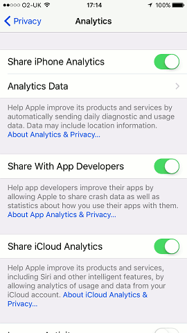 iOS 10.3 privacy settings on the iPhone